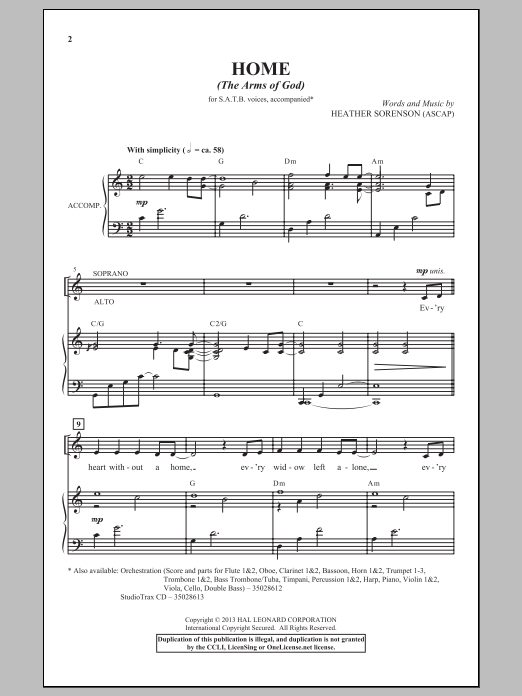 Partition chorale Home (The Arms Of God) de Heather Sorenson - SATB