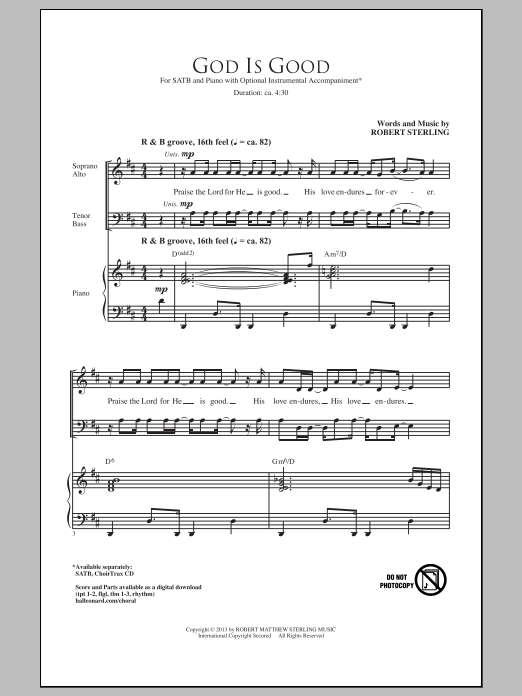 Partition chorale God Is Good de Robert Sterling - SATB