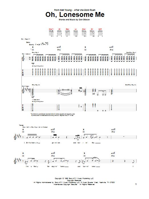 Tablature guitare Oh, Lonesome Me de Neil Young - Tablature Guitare