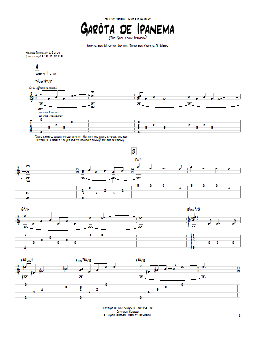 Tablature guitare Garota De Ipanema de Pat Metheny - Tablature Guitare