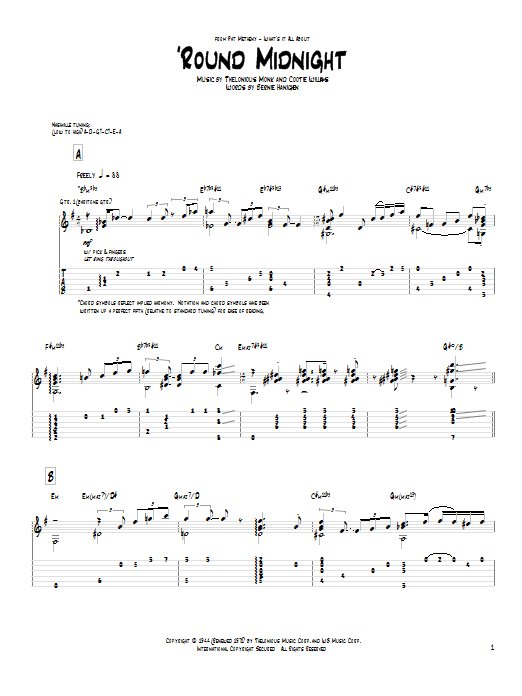 Tablature guitare 'Round Midnight de Pat Metheny - Tablature Guitare