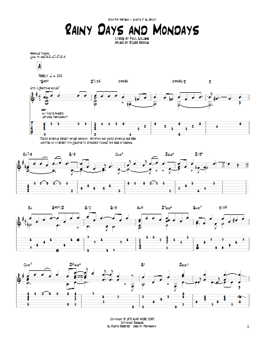 Tablature guitare Rainy Days And Mondays de Pat Metheny - Tablature Guitare