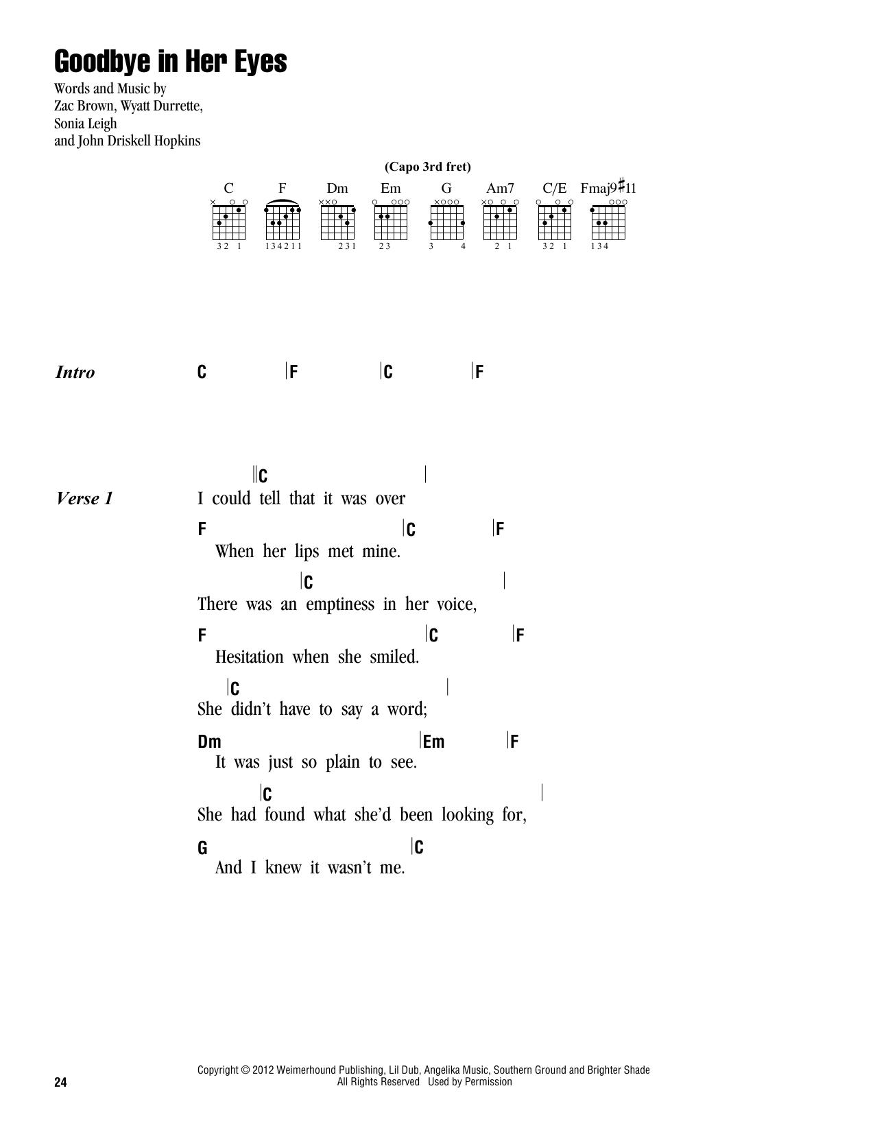 Sheet music digital files to print licensed zac brown band goodbye in her eyes hexwebz Choice Image