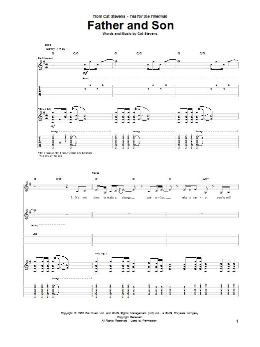 Tablature guitare Father And Son de Cat Stevens - Tablature Guitare