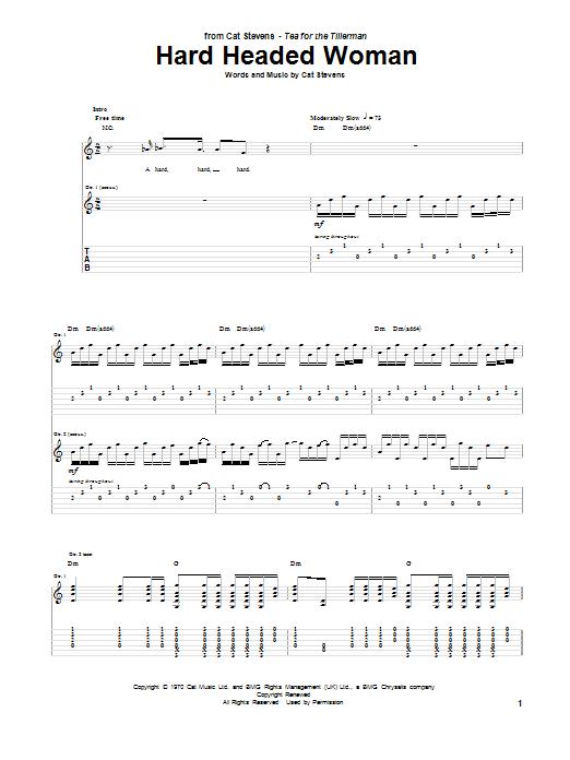 Tablature guitare Hard Headed Woman de Cat Stevens - Tablature Guitare