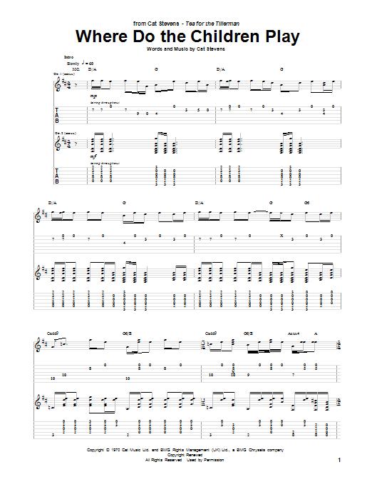 Tablature guitare Where Do The Children Play de Cat Stevens - Tablature Guitare