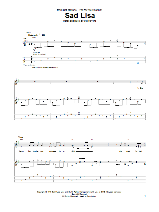 Tablature guitare Sad Lisa de Cat Stevens - Tablature Guitare