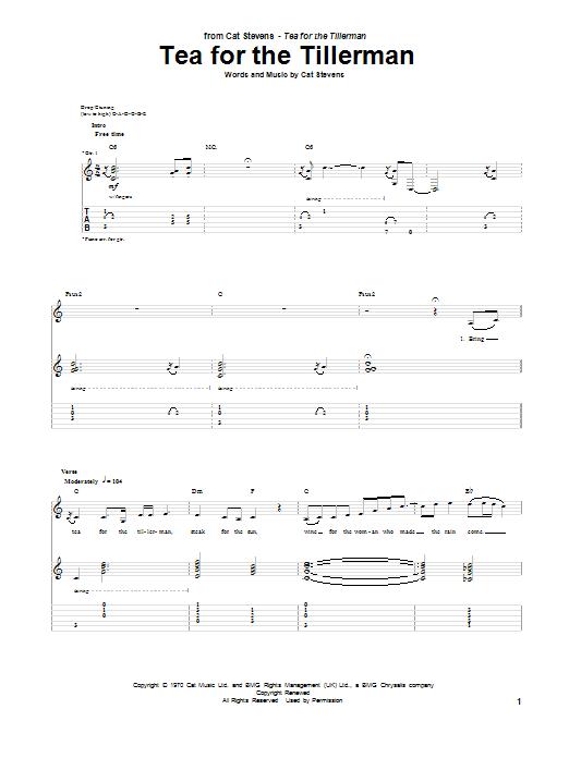 Tablature guitare Tea For The Tillerman de Cat Stevens - Tablature Guitare