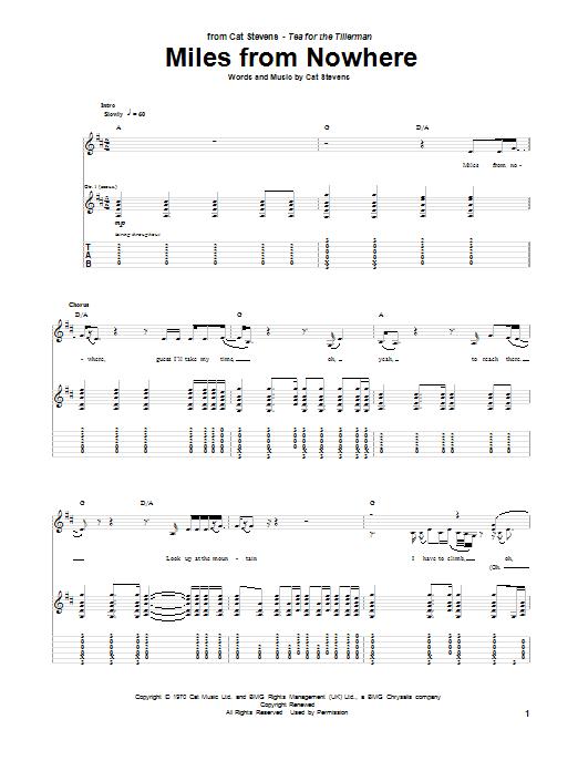 Tablature guitare Miles From Nowhere de Cat Stevens - Tablature Guitare