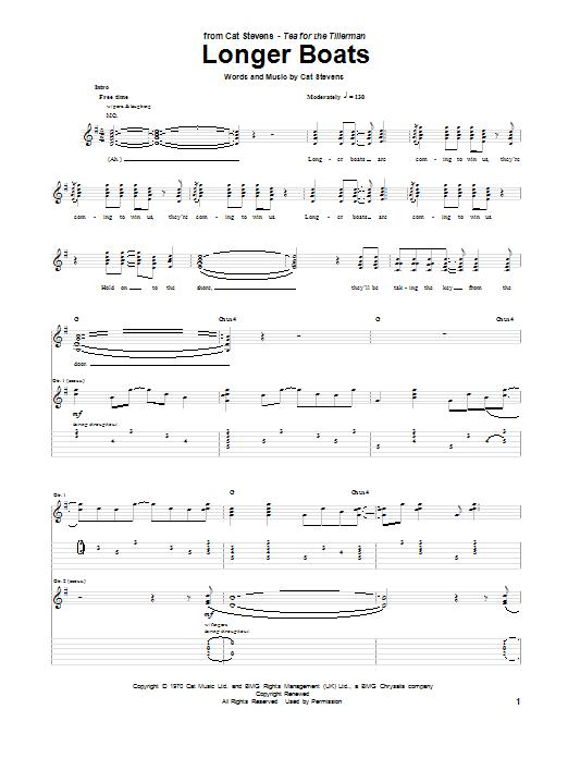 Tablature guitare Longer Boats de Cat Stevens - Tablature Guitare