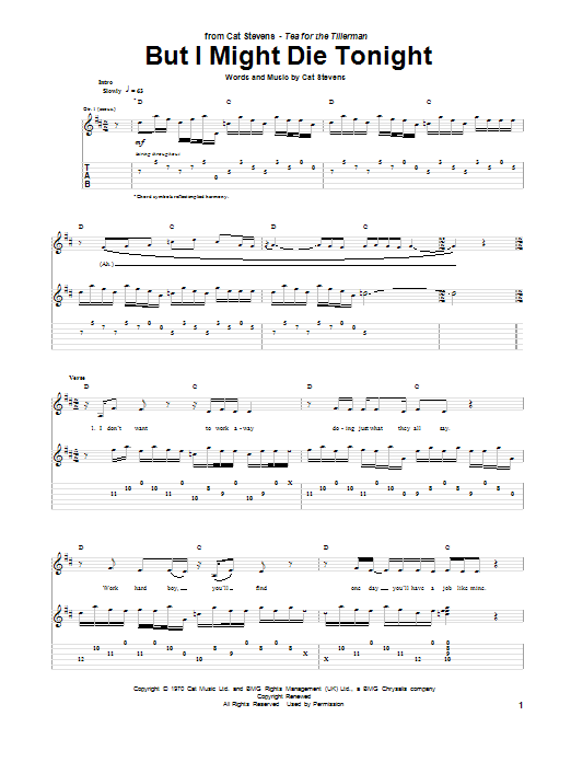Tablature guitare But I Might Die Tonight de Cat Stevens - Tablature Guitare