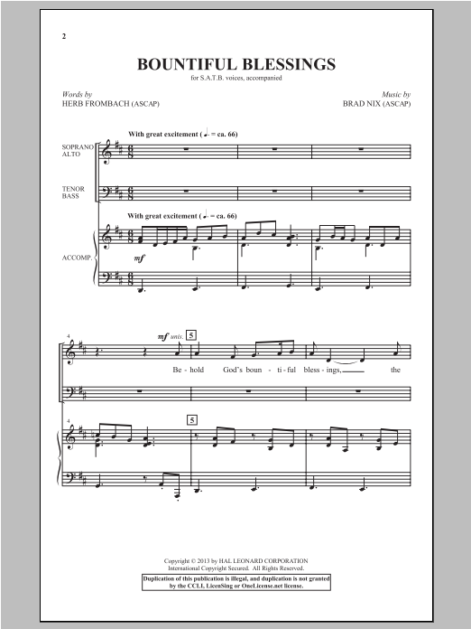 Partition chorale Bountiful Blessings de Brad Nix - SATB