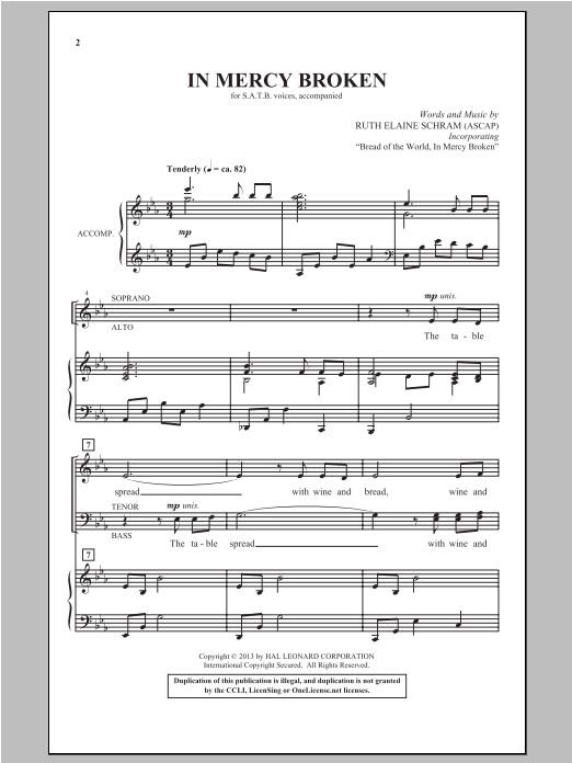 Partition chorale In Mercy Broken de Ruth Elaine Schram - SATB