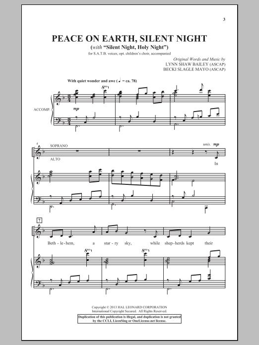 Partition chorale Peace On Earth, Silent Night de Lynn Shaw Bailey - SATB