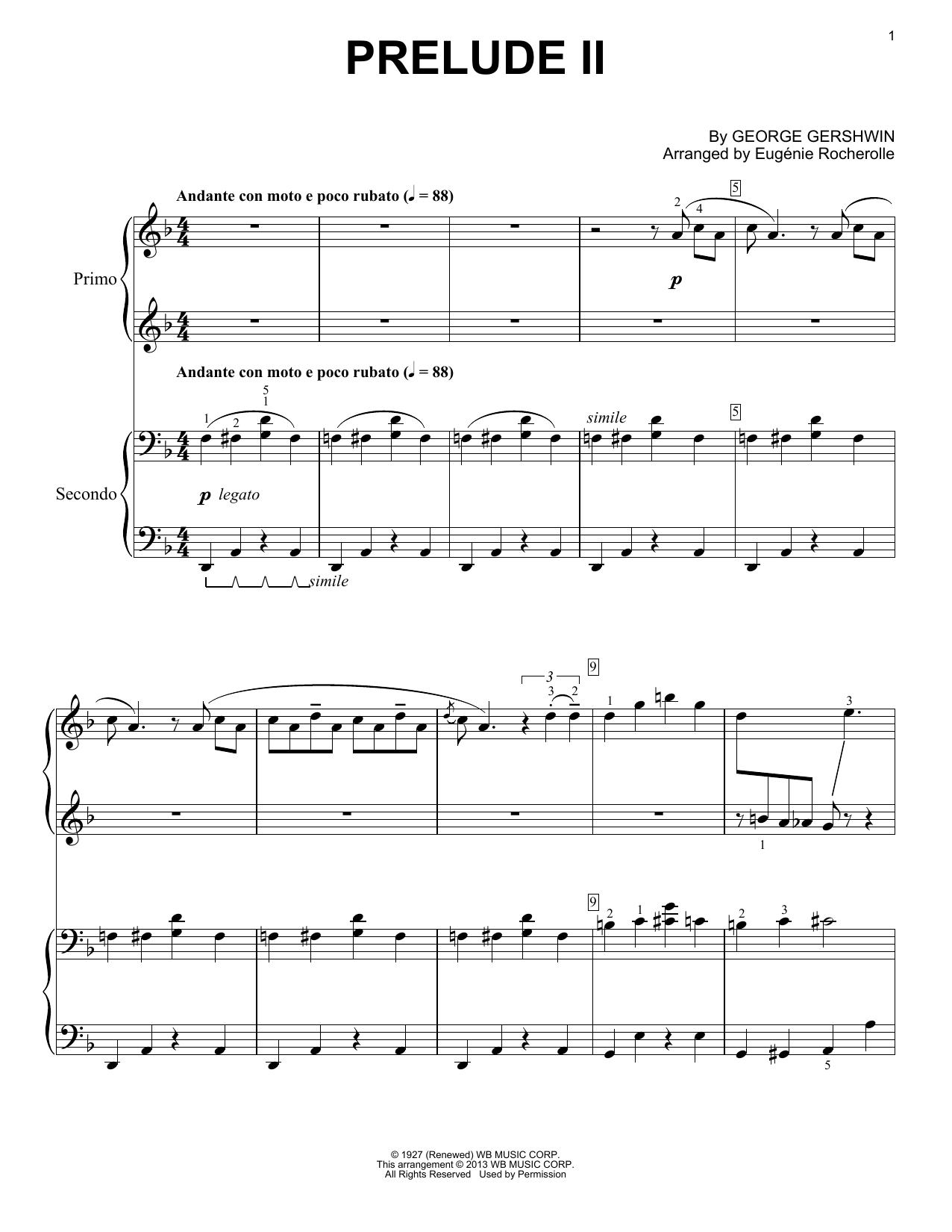 Partition piano Prelude II (Andante Con Moto E Poco Rubato) de George Gershwin - 4 mains