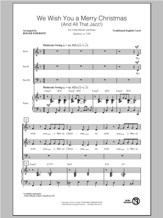 Partition chorale We Wish You A Merry Christmas de Roger Emerson - 3 voix mixtes