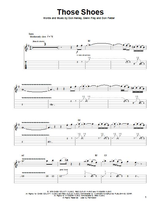 Tablature guitare Those Shoes de Eagles - Tablature Guitare