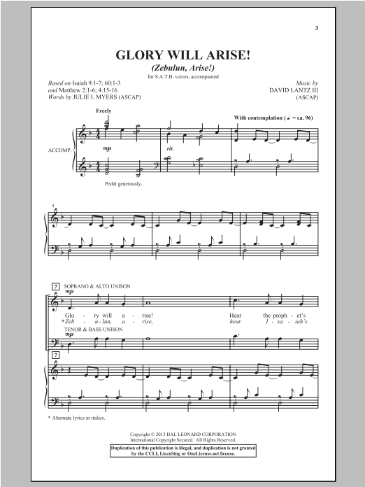 Partition chorale Glory Will Arise! (Zebulun, Arise) de David Lantz III - SATB