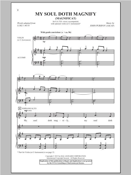 Partition chorale My Soul Doth Magnify (Magnificat) de John Purifoy - SATB