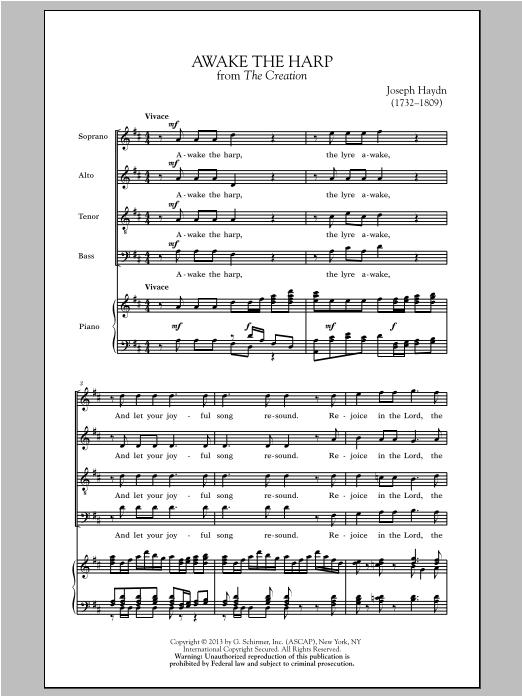 Partition chorale Awake The Harp de Franz Joseph Haydn - SATB