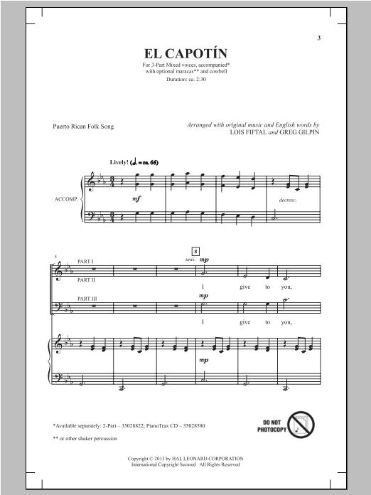 Partition chorale El Capotin de Greg Gilpin - 3 voix mixtes