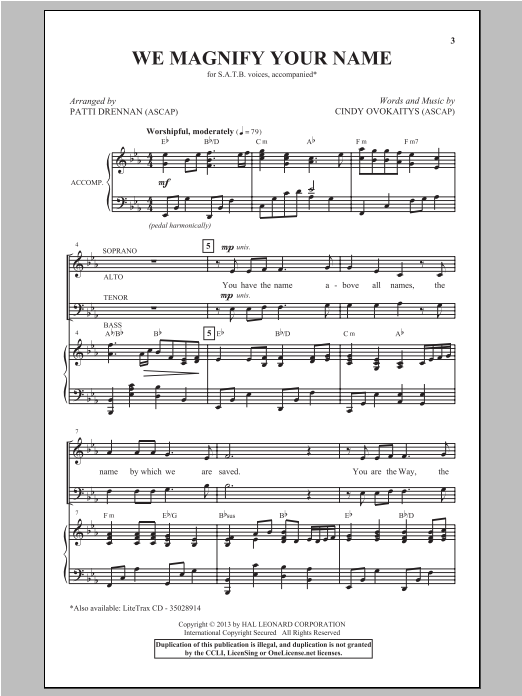 Partition chorale We Magnify Your Name de Cindy Ovokaitys - SATB