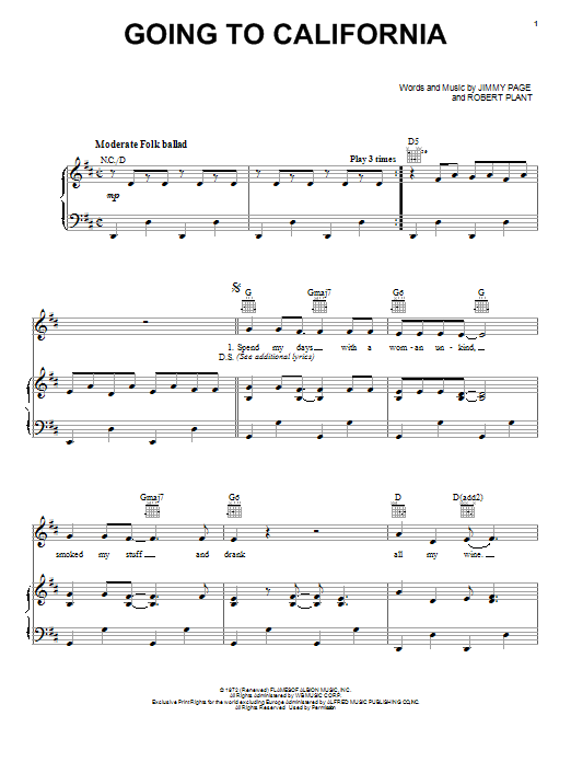 Going To California : Sheet Music Direct