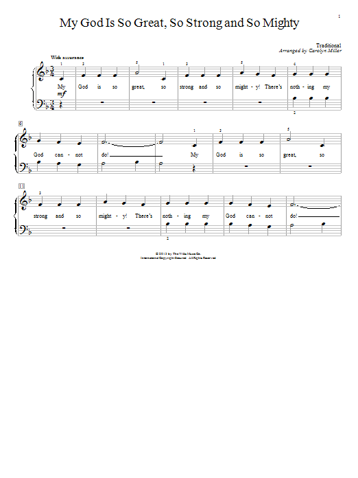 Partition piano My God Is So Great, So Strong And So Mighty de Carolyn Miller - Piano Facile
