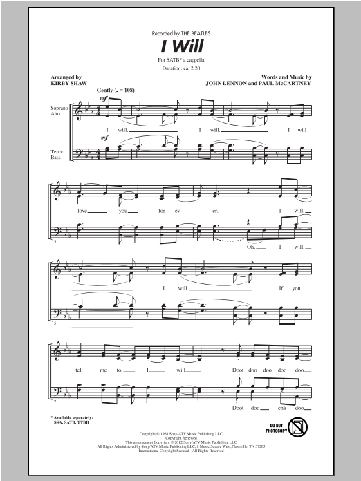 Partition chorale I Will de Kirby Shaw - SATB