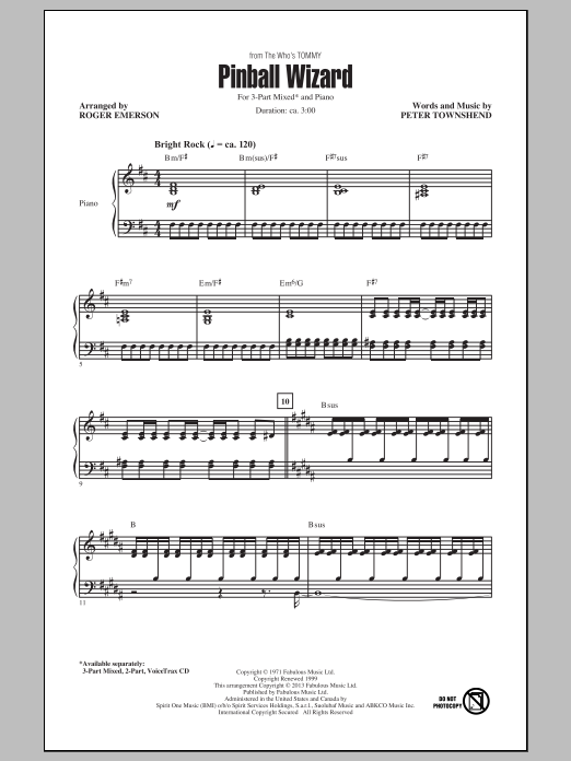 Partition chorale Pinball Wizard de Elton John - 3 voix mixtes