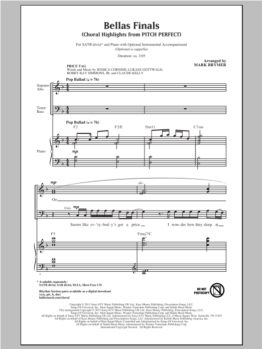 Partition chorale Bellas Finals (Choral Highlights from Pitch Perfect) de Pitch Perfect (Movie) - SATB