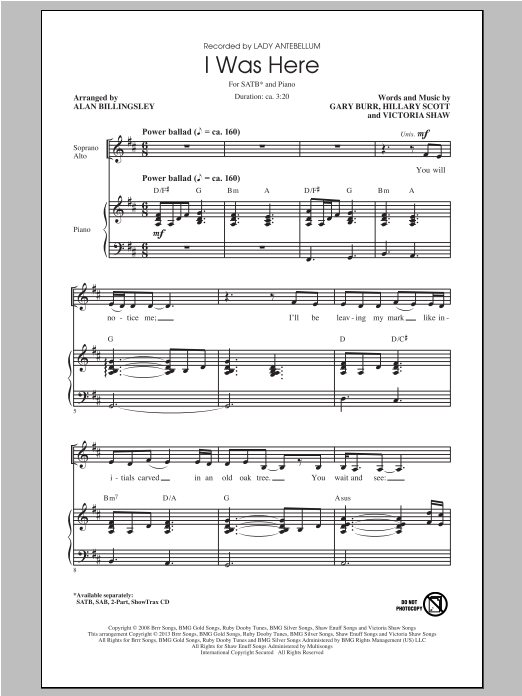 Partition chorale I Was Here de Lady Antebellum - SATB