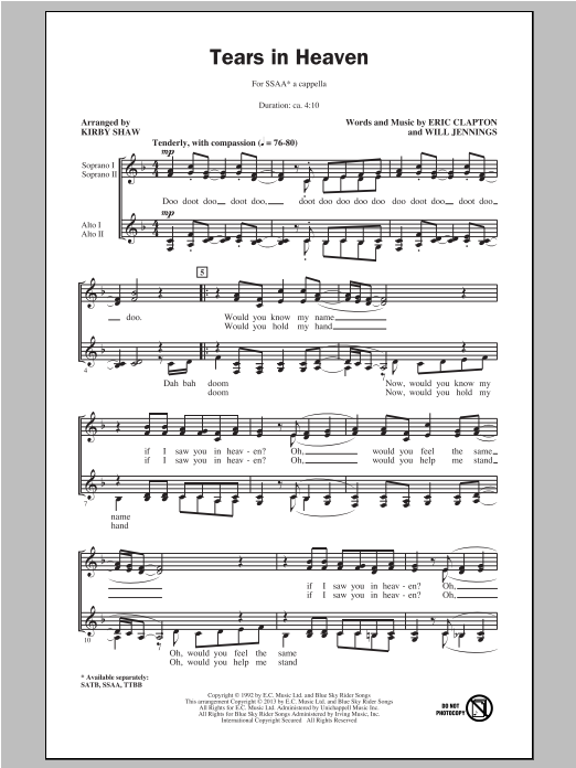 Partition chorale Tears In Heaven de Eric Clapton - SSA