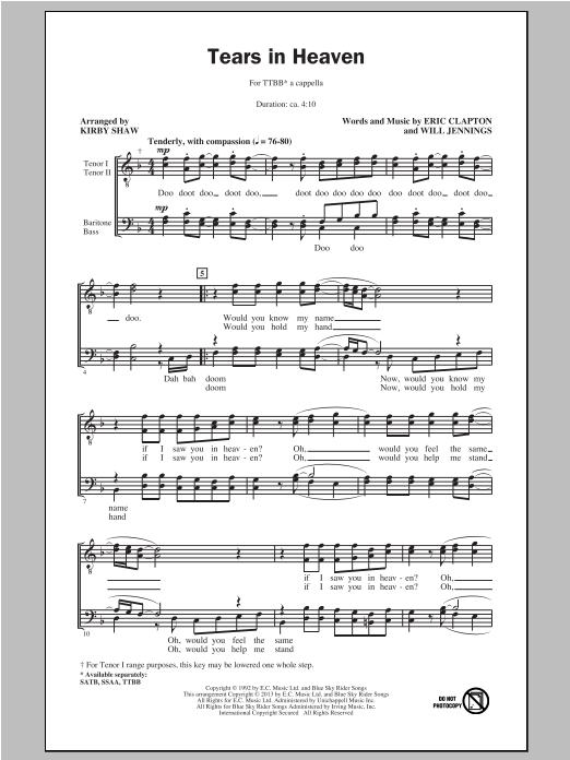 Partition chorale Tears In Heaven de Eric Clapton - TTBB
