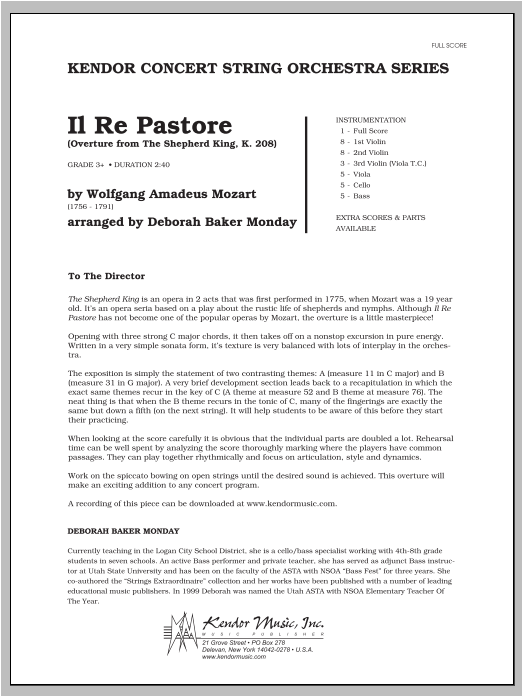 Il Re Pastore (Overture from The Shepherd King, K. 208) (COMPLETE) sheet music for orchestra by Monday