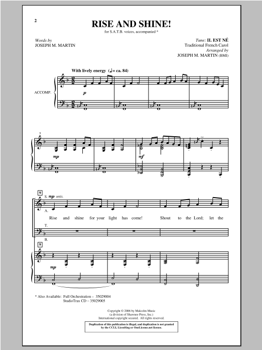 Rise And Shine! Sheet Music
