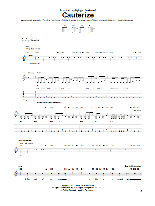 Tablature guitare Cauterize de As I Lay Dying - Tablature Guitare