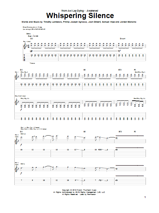 Tablature guitare Whispering Silence de As I Lay Dying - Tablature Guitare