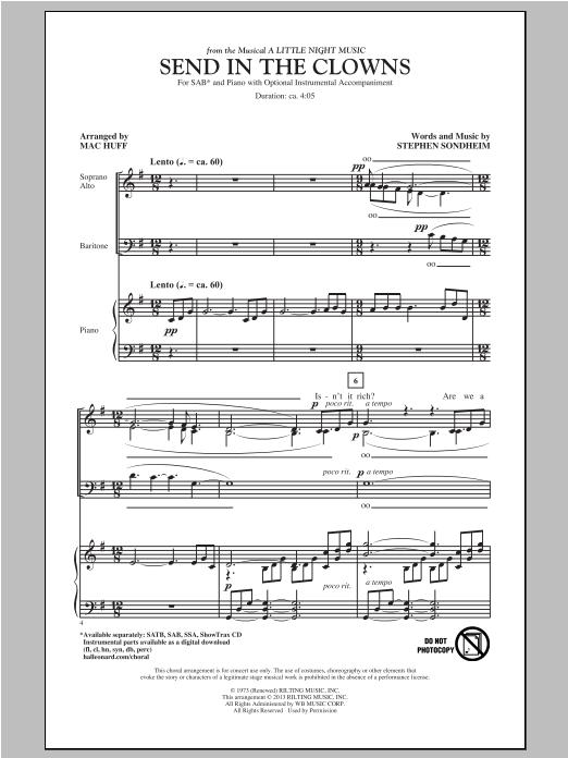 Partition chorale Send In The Clowns de Stephen Sondheim - SAB