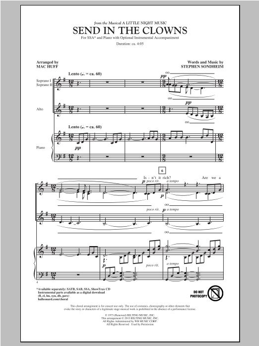 Partition chorale Send In The Clowns de Stephen Sondheim - SSA