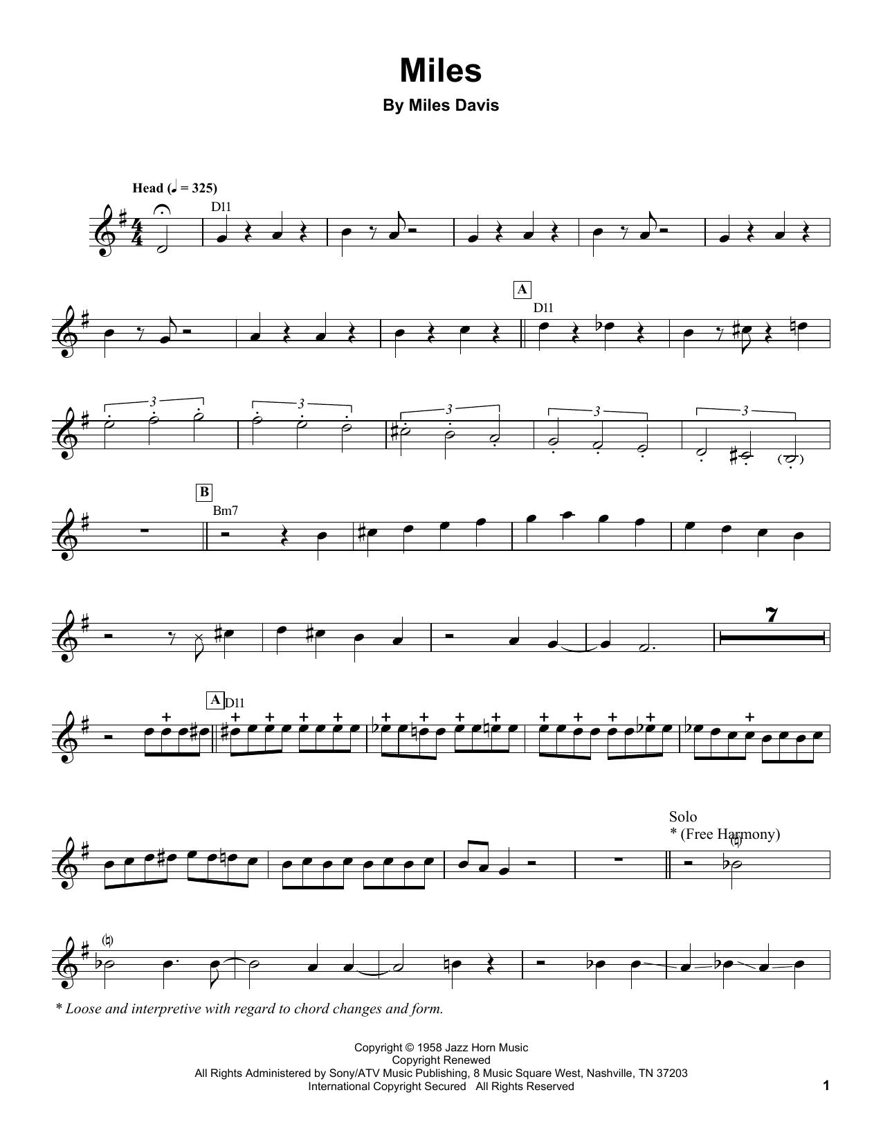 Partition autre Miles de Miles Davis - Autre