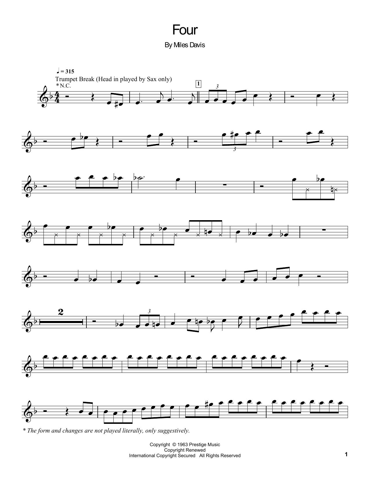 Partition autre Four de Miles Davis - Autre