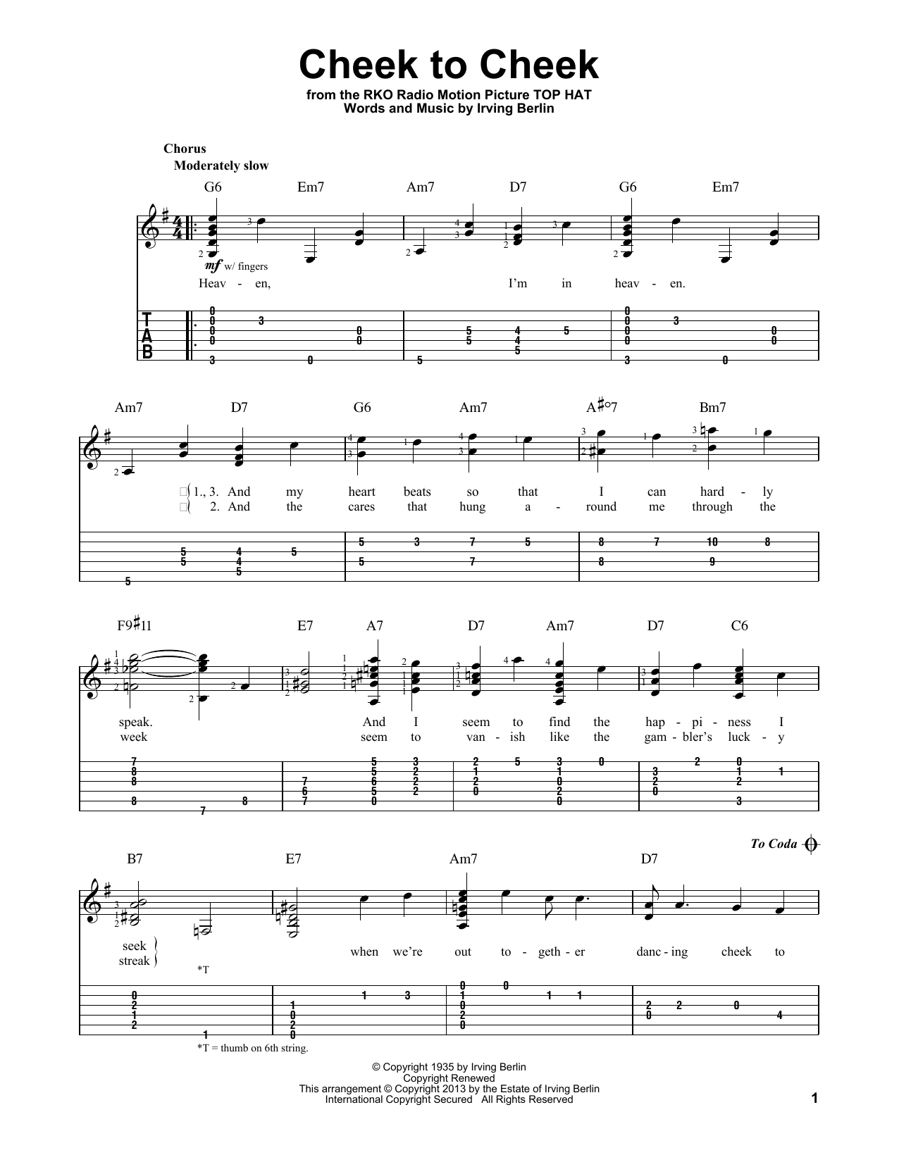 Tablature guitare Cheek To Cheek de Irving Berlin - Tablature Guitare