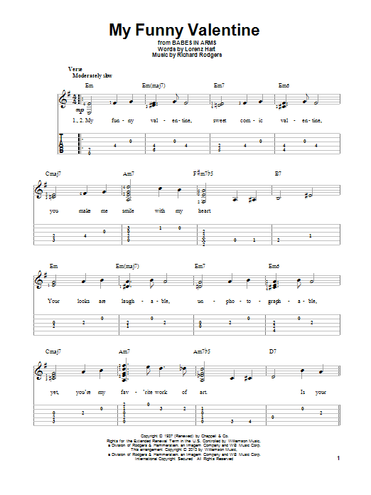 Tablature guitare My Funny Valentine de Richard Rodgers - Tablature Guitare