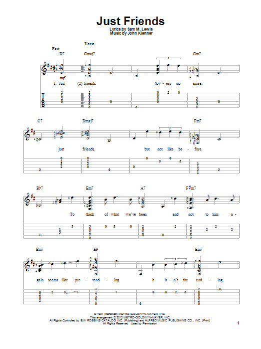Tablature guitare Just Friends de John Klenner - Tablature Guitare