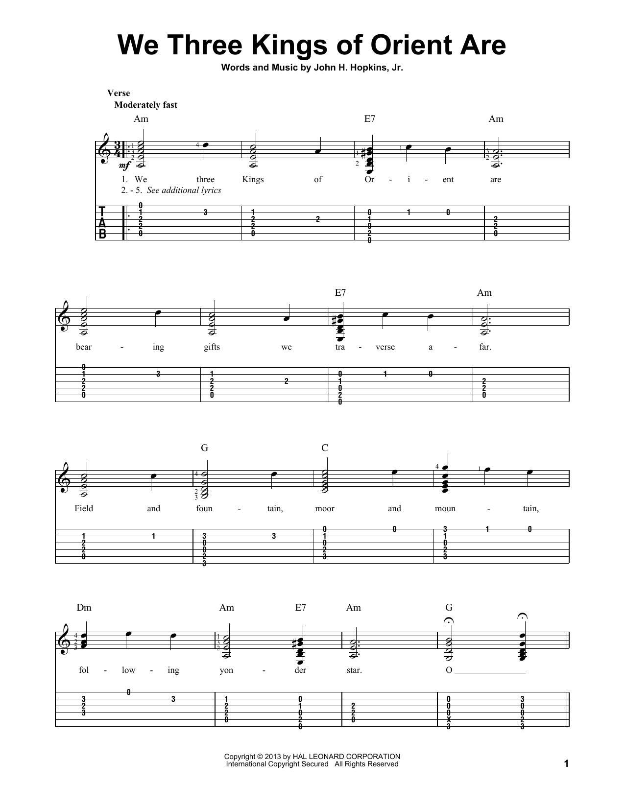 We Three Kings Of Orient Are Guitar Tab by John H. Hopkins, Jr. (Guitar Tab u2013 97049)