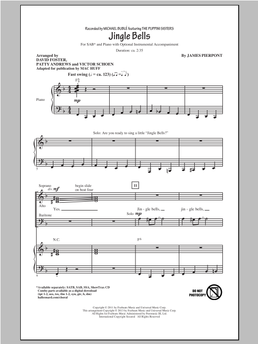 Partition chorale Jingle Bells de Michael Bublé - SAB