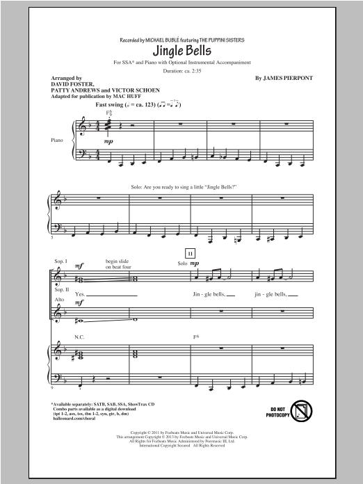 Partition chorale Jingle Bells de Michael Bublé - SSA
