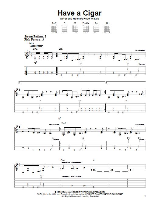 Tablature guitare Have A Cigar de Pink Floyd - Tablature guitare facile