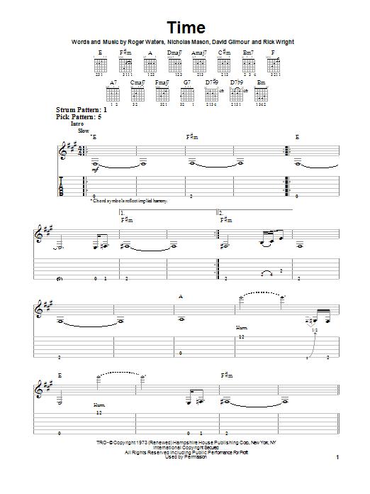 Tablature guitare Time de Pink Floyd - Tablature guitare facile